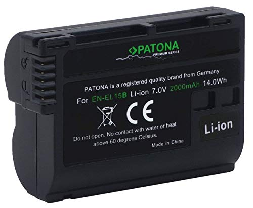 PATONA Premium Ersatz für Akku Nikon EN-EL15b EN-EL15a EN-EL15 (Echte 2000mAh) Stufe III - Intelligentes Akkusystem mit Chip Technologie