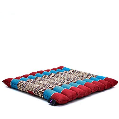 Leewadee cojín de Asiento Enrollable – Esterilla de meditación pequeña con Lazo, Almohada Suave para Interiores y Exteriores, 40 x 38 cm, Azul Rojo