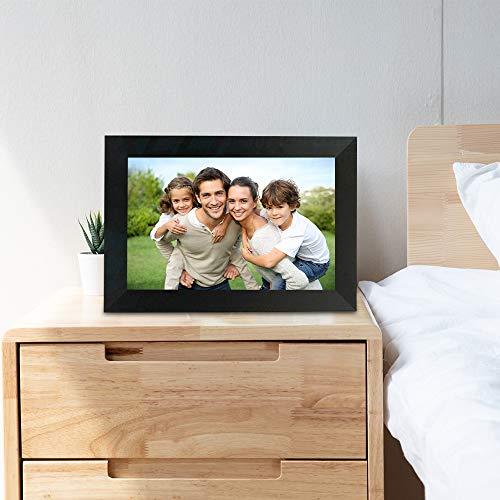 TOPQSC WiFi Marco de Fotos Digital Marco de Fotos Inteligente de 10.1 Pulgadas Transfiera Fotos Forma remota Pantalla táctil IPS La Pantalla de visualización HD se Puede Girar Adecuado para el hogar