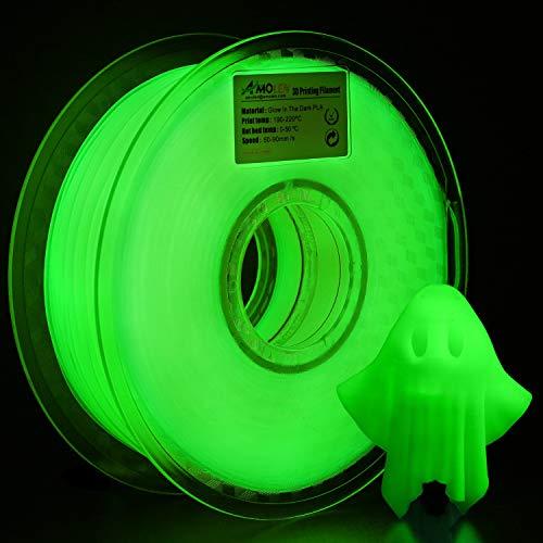 AMOLEN Imprimante 3D Filament PLA 1.75mm, Glow in the Dark Vert 1KG,+/- 0.03 mm Matériel d'impression 3D pour Imprimante 3D et Stylo 3D