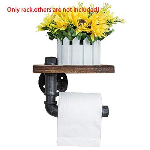 HtapsG Porta Carta Igienica Ripiano in Legno per Bagno Appendiabiti da Casa Portarotolo da Cucina Cucina A Parete Stile Industriale Deposito per Telefono Retro Toilet-1