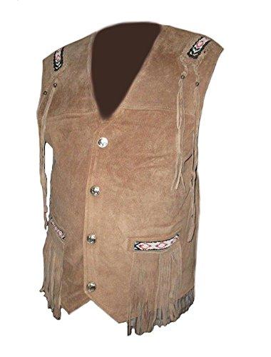 coolhides Men's Fashion Cowboy Vest with Fringes & Beans Suede Brown Large