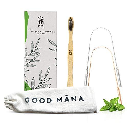 Good Mana 2x Ayurvedische Zungenreiniger Edelstahl gegen Mundgeruch als Travelpack - und 1x Holz/Bambus Zahnbürste im Leinenbeutel ohne Nutzung von Plastik der Umwelt zur Liebe