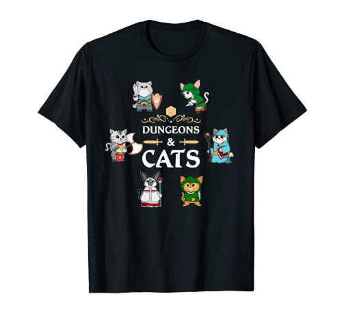 Adventurer Cats RPG D20 Dice RPG Fantasy Roleplaying Gamers T-Shirt