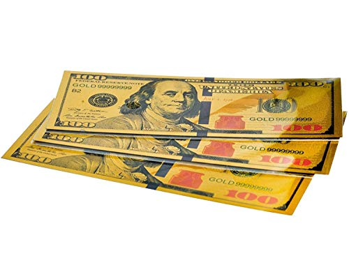 12 Gold $100 Bill Bookmarks for Kids - Quality Thick Book-Marks (1 Dozen) to Promote Reading - One Hundred Dollar US Bank Note - Ben Franklin - Perfect for Classrooms, Book Clubs, Schools (12)
