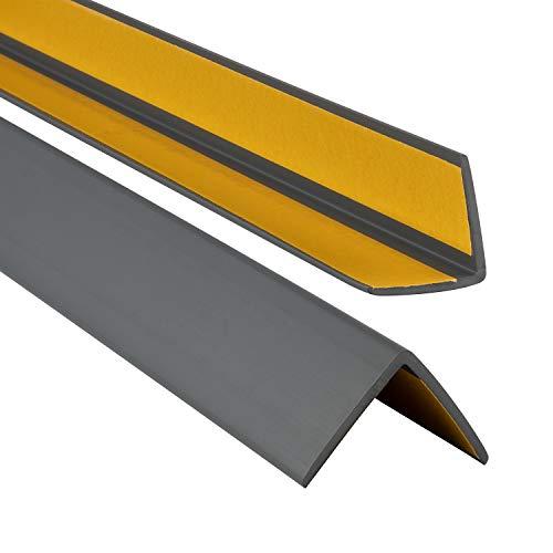 ProfiPVC Winkelprofil 35x35mm, Kunststoffwinkel aus PVC-Gummi - selbstklebend Kantenschutzprofil, elastischer Kantenschutz - Eckschutzprofil, einfache Montage - 130cm, Anthrazit