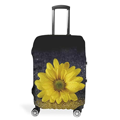 NiTIAN Luggage Covers Washable Spandex Baggage Suitcase Cover Protector Dustproof Anti-Thief Baggage Protective Case Sunflower and Rain Dew Water Design White m (60x81cm)