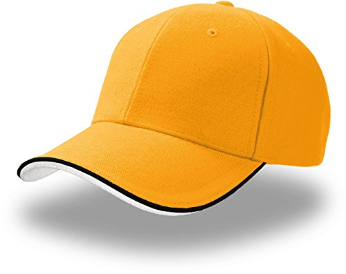 Atlantis Pilot Piping Sandwich Premium Brush Cotton 6 Panel Cap - Yellow - OS
