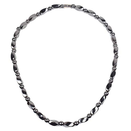 Hematite Necklace - Strong Magnetic Therapy Necklace Naturally Reduces Headache Pain - Arthritis in The Neck, Shoulder, and Head-21.6 inch (55cm)