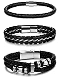 Jstyle 3Pcs Stainless Steel Braided Leather Bracelet for Men Women Leather Wrist Band Cuff Bangle Bracelet Magnetic Clasp 7.5-8.5 inches