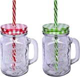 My way Mason Glass Jar Mug with Straw and Handle Storage Air tight Cold & Hot Water , Juice , Wine Clear Multicolour Pack of (2)