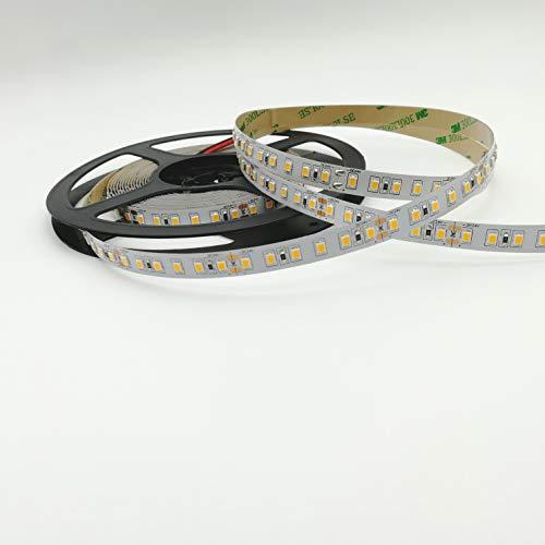 Rouleau de 5 mètres de ruban 600 LED 2835 SMD lumière unicolore au choix 5 m 24 V DC avec adhésif double face 3M mod. Premium (3000 K lumière chaude (blanc chaud)
