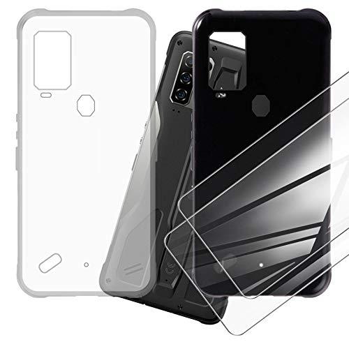 DYSu Funda para Ulefone Armor 10 (6.67') Cristal Templado, Carcasa Suave Transparente+Black TPU Silicona Case Caso Cover y 9H Protectora Pantalla Glass Film Protector de Pantalla .2+2Pack