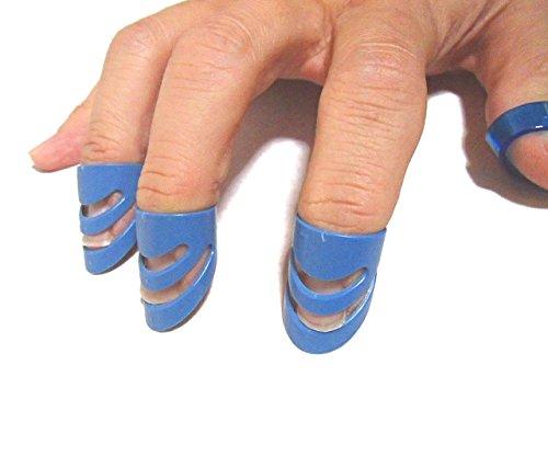 Phoenixフィンガーピック3個セット【Lサイズ(約14mm)】アコースティック・フォーク・エレキギター対応/指の爪保護/簡単加工<長期保証45日間>(ブルー)ピック