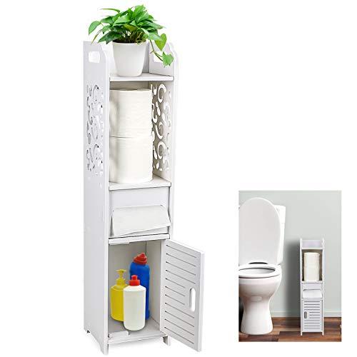 Gotega - Armario pequeño para almacenamiento de papel higiénico con puertas y estantes, diseño hueco tallado para baño, estante de esquina para papel champú, color blanco