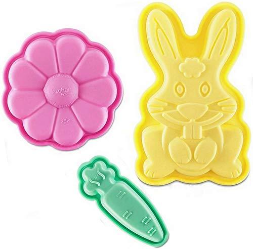 Tchibo Backformen Set Silikon 3er Backform Antihaft Hase Möhre Blume für Ostern
