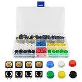 YIXISI 120 pièces (12 x 12 x 7.3mm) Interrupteurs à bouton-poussoir tactiles, Kit d'assortiment d'interrupteurs, bouton-poussoir momentanés à 4 broches, Tactile Bouton-Poussoir, pour Arduino