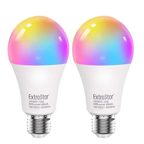 Bombilla LED Inteligente WiFi,Extrastar 2 Pack 10W E27 Bombilla...