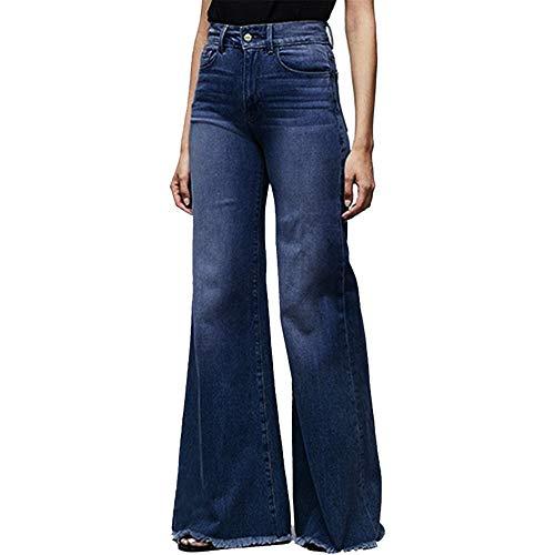 Vertvie Damen Jeans Bootcut Jeanshose Mit Hohem Bund Casual Lange Mode Hose Weite Schlaghosen Retro Stil Denim Hose (38 EU, Y-Dunkelblau)