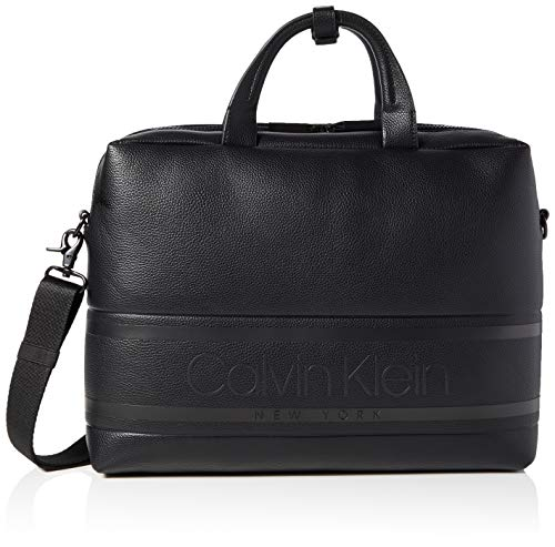 Calvin Klein heren Striped Logo Pu Laptop Bag zakorganizer, zwart (Blackwhite Black), 1x1x1 cm