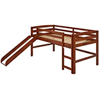 Woodcrest Twin Mini Slide Loft Bed with Ladder (Chocolate)