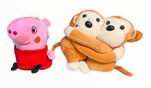 Florona Soft Blue Peppa & Monkey Soft Toy for Kids, Children, Baby Girls, Stuff Animals Soft Toys