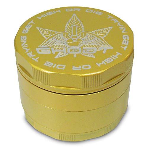 Keramische gecoate anti-aanbaklaag 53 mm pollen grinder pollinator crusher voor tabak kruiden specerijen molen 4-delig - goud