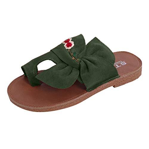 HDUFGJ Damen Sandalen gestickt Bunion Zehenkorrektur Hausschuhe Flache Hausschuhe Strandschuhe Outdoor-Schuhe Wedges Clogs komfortable Zehentrenner Leder BequemeGrün(40)