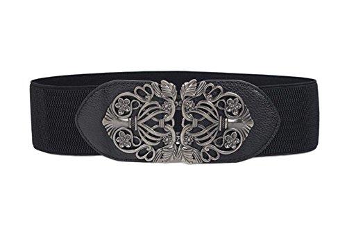 Oyccen Vintage Cinturón Elástico Señoras Pretina Ancho Cinturones con Hebilla de Aleación