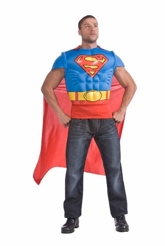 Superman Muscle Chest Top with Cape, Red/Blue, Standard Costume