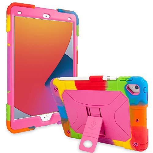 iPad 10.2 Case 2019 iPad 7th Generation Case iPad 10.2 inch 2020 iPad 8th Generation Case Heavy Duty Shockproof Soft Silicone Cover with Pencil Holder Kickstand - Pink Rainbow