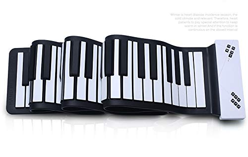 SMAA Tragbare Flexible 88 Tasten Elektronische Tastatur Handrollen Oben Klavier eingebaute Li-on Batterie, Grand Piano, Mikrofon, Klavier-Tasten verdickte, Bluetooth, automatische Sleep,Weiß