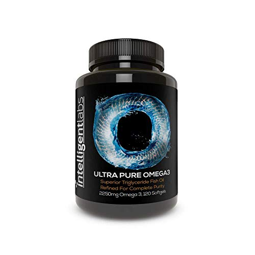 Intelligent Labs Triglyceride Omega 3, 2250mg per 3-Capsule Serving, Burpless Fish Oil Capsules, GOED Certified, 3rd Party Heavy Metal, PCB, and Oxidation Tested - 120 Softgels Per Bottle