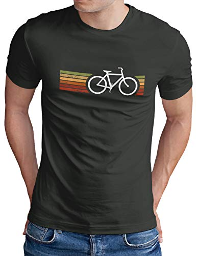 OM3® Retro Bicycle T-Shirt | Herren | Cycling Cyclist Biking Fahrrad Radfahrer | Dark Grey, M