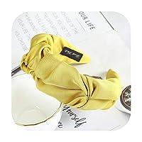 睿ちゃん韓国ハイエンド生地ヘッドバンド無地つば広のベゼルヘアアクセサリー女性の新しいスタイルのヘッドウェアヘッドドレス-Yellow-
