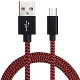 Cable micro USB, cable de datos de carga rápida USB trenzado de nailon audaz para Android Ios Línea de carga USB de teléfono móvil Cable USB-1M Rojo Negro