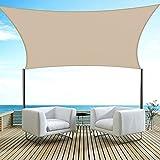 Velway Toldo Vela de Sombra Rectangular 3x3m Protección UV, Toldo Oxford 300D a Prueba de Lluvia para Exteriores Patio Jardín Terraza Camping Balcón, Caqui