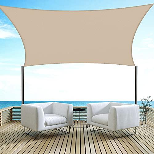 Velway 3 m x 3 m Sonnensegel, rechteckig, Khaki, für Terrasse, Rasen, Garten, Schwimmbad, Spielplatz, Balkon, Carport, Veranda