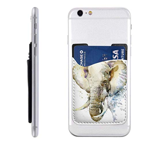 Cell Phone Card Holder Sticker Elephant Watercolor Illustration Splash Textured Background Pu Leather Wallet Sleeves ,Cover Stick On Wallet for Phone and Android Smartphones