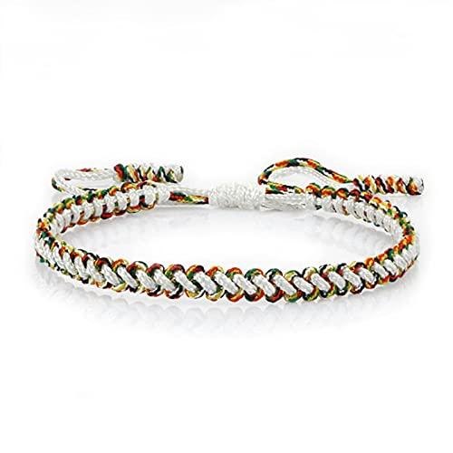 DALIU Pulseras Tejidas Multicolores étnicas, brazaletes de Hilo Trenzado Bohemio para Mujeres y Hombres, Cuerda Hecha a Mano, Encanto de Buda, Regalo de Pareja