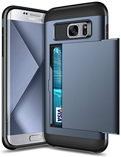 SAMONPOW Case for Samsung Galaxy S7 Edge Dual Layer Protective Shell Galaxy S7 Edge Wallet Case Hard PC Soft TPU Inner Rubber Bumper Card Slot Back Shockproof Cover for Galaxy S7 Edge Dark Blue