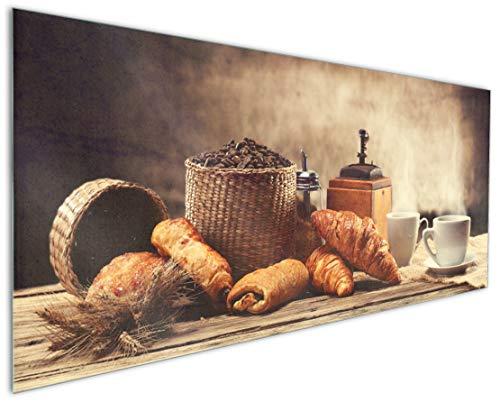 Wallario Küchenrückwand aus Glas, in Premium Qualität, Motiv: Französisches Frühstück mit Café und Croissants | Spritzschutz | abwischbar | pflegeleicht