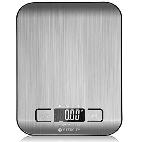 Etekcity Báscula Digital para Cocina de Acero Inoxidable, 5kg/11 lbs Bascula Comida de Precisión, Balanza de Alimento Multifuncional, Peso de...