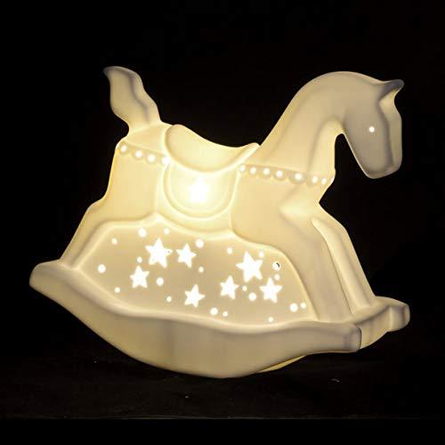 Vidal Regalos Lampada a LED in porcellana a forma di cavallo a dondolo E14