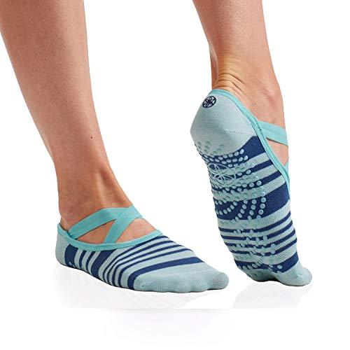 Gaiam Yoga Barre Socks Non Slip Sticky Toe Grip Accessories for Women & Men Pure Barre, Yoga, Pilates, Dance One Size Fits Most, Skyline
