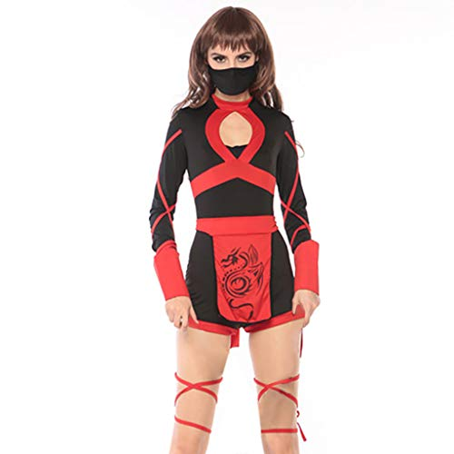 Lenfesh Black Fashion Women Halloween Creative Cosplay Disfraz Japonés Bushido Ninja Vintage Style Dress con 1PC, cinturón 1PC, Cinta de Pierna 1PC