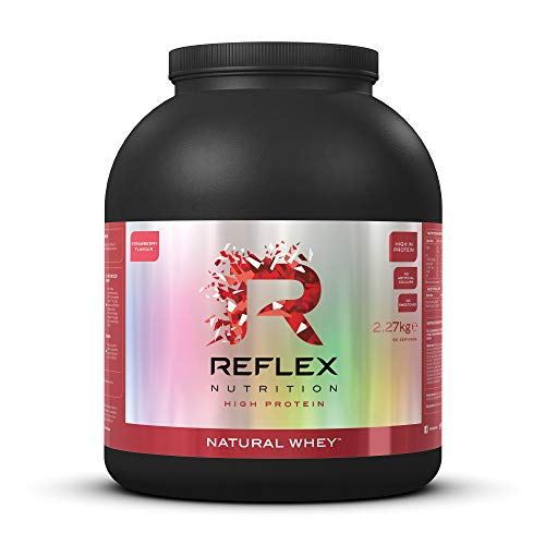 Reflex Nutrition Natural Whey Protein Powder No Sweetener No Sugar 20g Protein & BCAAs 9 Amino Acids (Strawberry) (2.27kg)