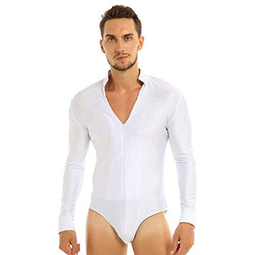 inhzoy Männer Body ouvert Glänzend Hemd Langarmshirt V-Ausschnitt Bodywear für Tanz Latin Wettbewerb Weiß Large