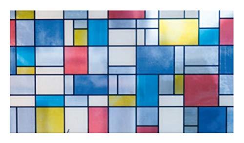gekkofix Bunte Fensterfolie Mondriaan 0,675 x 2m Glasdekorfolie Bleiglas Look selbstklebend