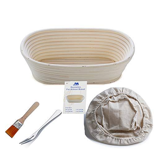 Jingmei Gärkörbchen oval, ø 25 cm x 15 cm, Höhe 8cm, frei Bürste (750g Teig)+ frei Zwischenlage-Abdeckung +frei Brotgabel